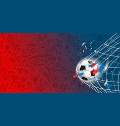 soccer ball on the net template for a text vector image