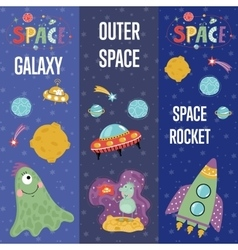Space Theme Cartoon Web Banners Collection vector