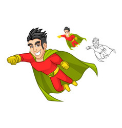 Super Hero with Cape and Flying Pose vector