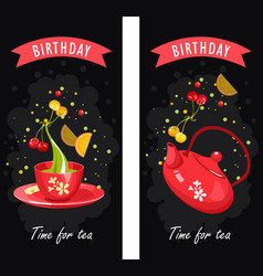 tea time card vector image