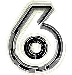 Technological font Number 6 vector