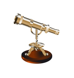 telescope on a wooden stand vector image