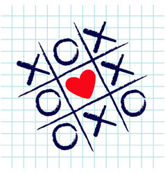 Tic tac toe game with criss cross and red heart vector