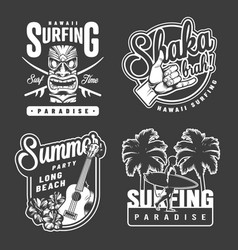 vintage summer surfing monochrome prints vector image