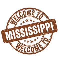 welcome to mississippi brown round vintage stamp vector image