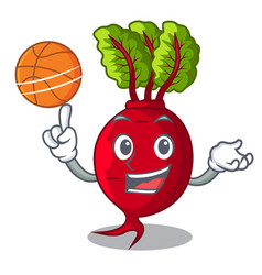 With basketball cartoon fresh harvested beetroots vector