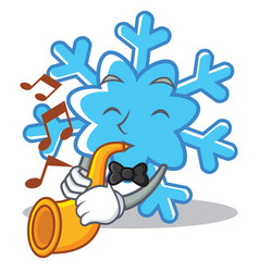 with trumpet snowflake character cartoon style vector image