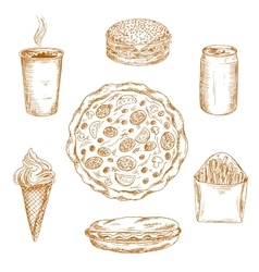 Fast food dishes drinks and desserts sketch icons vector image vector image