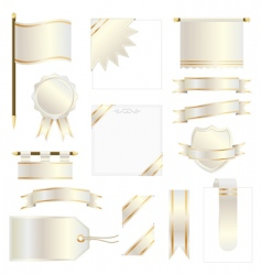 gold flags and ribbons vector image vector image