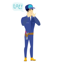 young asian mechanic laughing out loud vector image