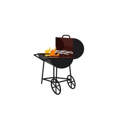 barbecue gland with flame vector image