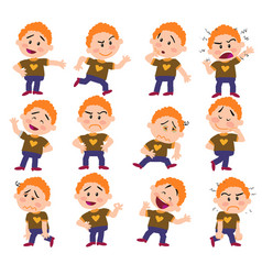 cartoon character white red hair boy set vector image