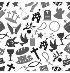 christianity religion symbols grayscale seamless vector image vector image