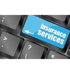 Keyboard with insurance services button internet vector image
