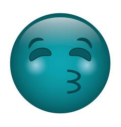 kissing emoticon style icon vector image