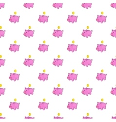 Pink piggy bank pattern cartoon style vector image