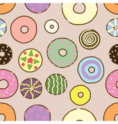 Seamless of Colorful Donuts vector image