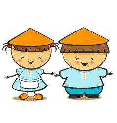 chinese children boy girl vector image vector image