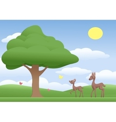 Deers on a meadow vector image