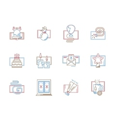 Flat color line icons for December holidays vector image vector image