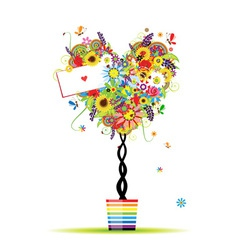 Summer floral tree heart shape in pot vector image