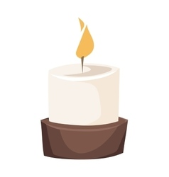 Burning candle in a stand flat vector image vector image
