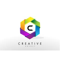 c letter logo corporate hexagon design vector image