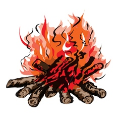 Fire of campfire with firewood vector image