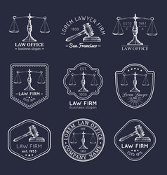 law office logos set with scales of justice gavel vector image