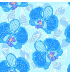 Seamless floral pattern orchids vector image