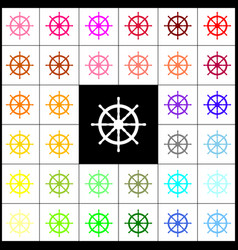 ship wheel sign felt-pen 33 colorful vector image vector image