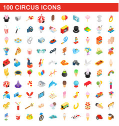 100 circus icons set isometric 3d style vector image