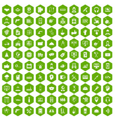 100 support icons hexagon green vector