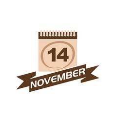 14 november calendar with ribbon vector