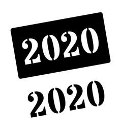 2020 black rubber stamp on white vector