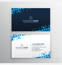 Abstract business card with blue mosaic shapes vector