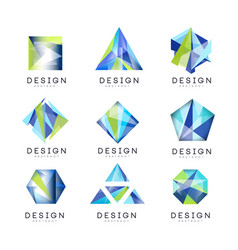 Abstract logo design set crystal gem geometric vector