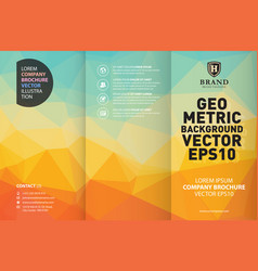 Abstract yellow geometric trifold brochure design vector