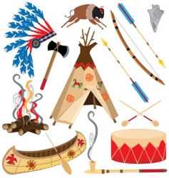 American Indian clipart icons vector image