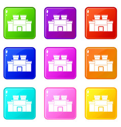 ancient fortress icons 9 set vector image