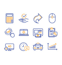 atm seo adblock and time icons set share vector image