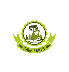 badge save earth concept vector image