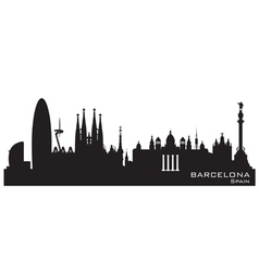 Barcelona spain skyline detailed silhouette vector