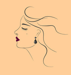 Beautiful woman with earring fashion vector