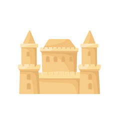 big sandcastle with two towers children beach vector image