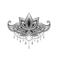 Black and White Tattoo Lotus vector image
