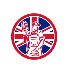 british professional cleaner union jack flag icon vector image