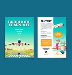 Brochure with airplane takeoff tourism vector