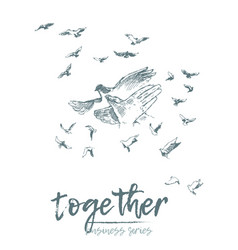 Business concept hold hands spirit together vector