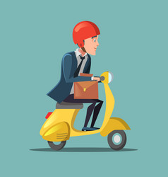 Businessman riding on a scooter rush to work vector